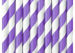 Paille en carton blanc/violet