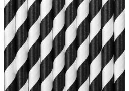 Paille en carton blanc/noir
