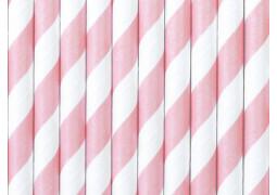 Paille en carton blanc/rose