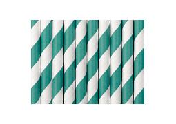 Paille en carton blanc/turquoise