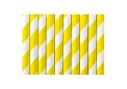 Paille en carton blanc/jaune