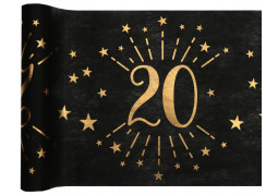 """Chemin de table anniversaire étincelant """"20"""" noir"""