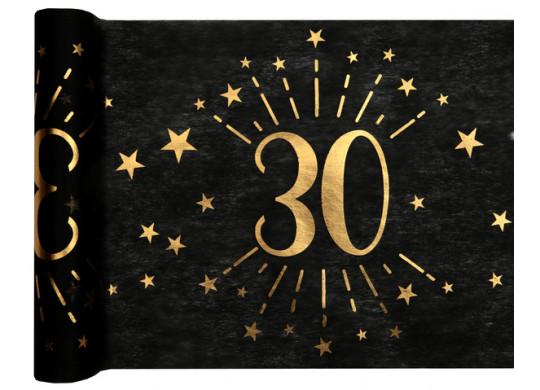 """Chemin de table anniversaire étincelant """"30"""" noir"""