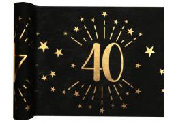 """Chemin de table anniversaire étincelant """"40"""" noir"""