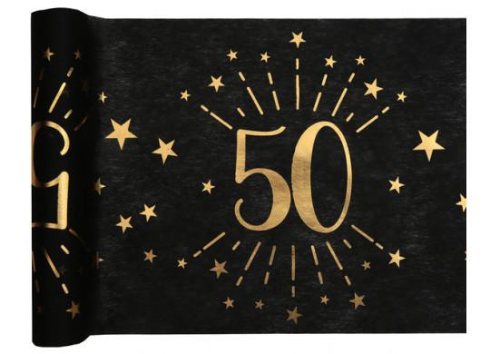 """Chemin de table anniversaire étincelant """"50"""" noir"""