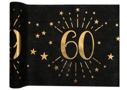 """Chemin de table anniversaire étincelant """"60"""" noir"""