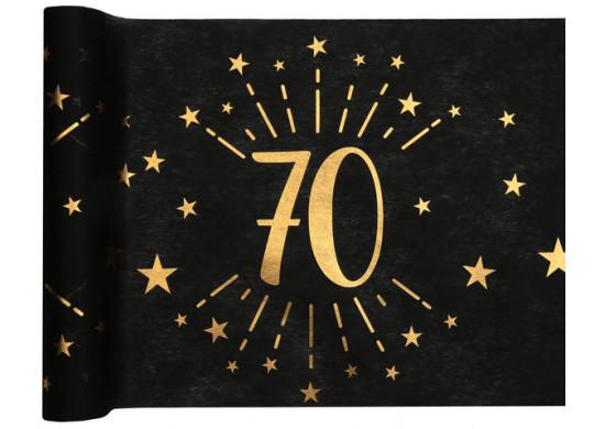 """Chemin de table anniversaire étincelant """"70"""" noir"""