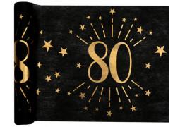 """Chemin de table anniversaire étincelant """"80"""" noir"""