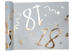 """Chemin de table anniversaire métallisé """"18"""" blanc"""