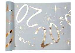 """Chemin de table anniversaire métallisé """"20"""" blanc"""