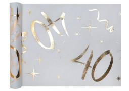 """Chemin de table anniversaire métallisé """"40"""" blanc"""