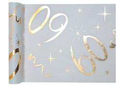 """Chemin de table anniversaire métallisé """"60"""" blanc"""