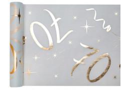 """Chemin de table anniversaire métallisé """"70"""" blanc"""
