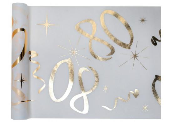 """Chemin de table anniversaire métallisé """"80"""" blanc"""