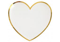 10 assiettes coeur blanc