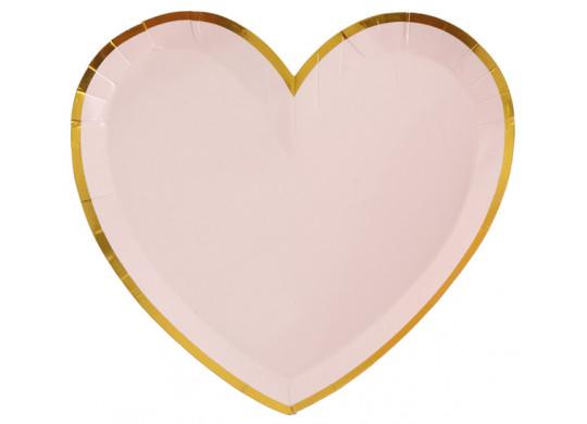 10 assiettes coeur rose