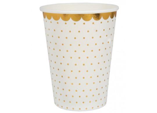 10 gobelets blanc pois or