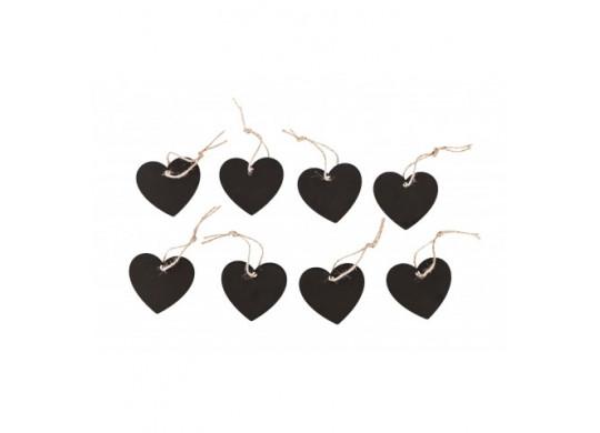 Coeur ardoise et cordelette x8