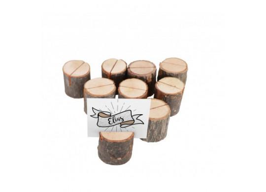 Marque place rondin bois x9