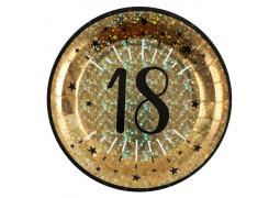 """10 assiettes anniversaire étincelant or """"18"""""""