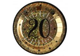 """10 assiettes anniversaire étincelant or """"20"""""""