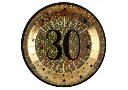 """10 assiettes anniversaire étincelant or """"30"""""""