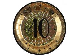 """10 assiettes anniversaire étincelant or """"40"""""""