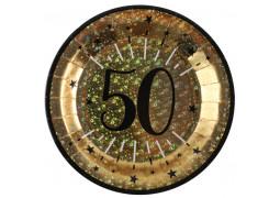 """10 assiettes anniversaire étincelant or """"50"""""""