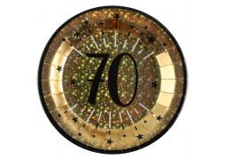 """10 assiettes anniversaire étincelant or """"70"""""""
