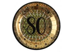 """10 assiettes anniversaire étincelant or """"80"""""""
