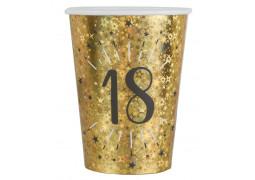 """10 gobelets anniversaire étincelant or """"18"""""""