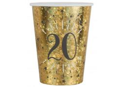 """10 gobelets anniversaire étincelant or """"20"""""""