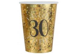 """10 gobelets anniversaire étincelant or """"30"""""""