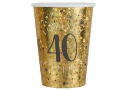 """10 gobelets anniversaire étincelant or """"40"""""""