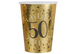 """10 gobelets anniversaire étincelant or """"50"""""""