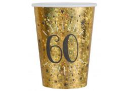 """10 gobelets anniversaire étincelant or """"60"""""""
