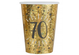 """10 gobelets anniversaire étincelant or """"70"""""""