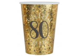 """10 gobelets anniversaire étincelant or """"80"""""""