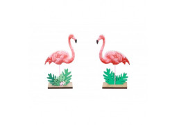 Centre de table flamant rose bois