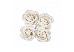 4 Roses en velours blanche 4cm