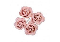 4 Roses en velours rose 4cm