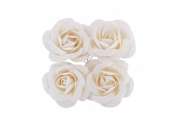 4 Roses en satin blanc 4cm