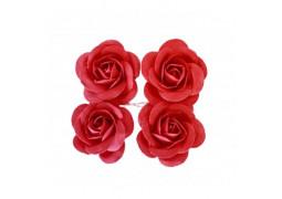 4 Roses en satin rouge 4cm