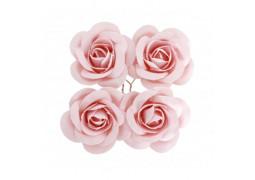 4 Roses en satin rose pastel 4cm