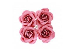 4 Roses en satin fuschia 4cm