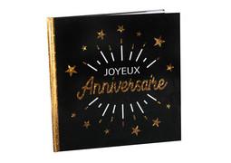 Livre d'or Joyeux anniversaire étincelant or/noir