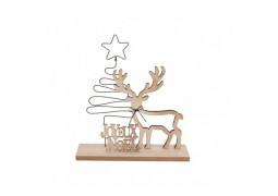 Centre de table cerf bois Joyeux Noël