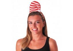 Serre tête bonnet rayé rouge/blanc