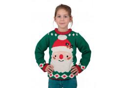 Pull moche de Noël enfant vert tête de Père Noël