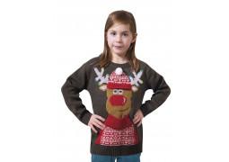 Pull moche de Noël enfant gris renne musical